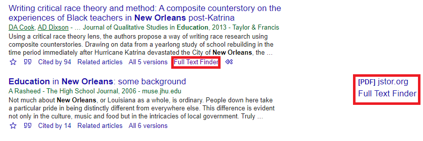 Google Scholar results with links to Full Text Finder
